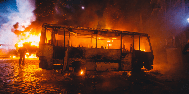 RIOTS ENCOURAGED, BUS ON FIRE