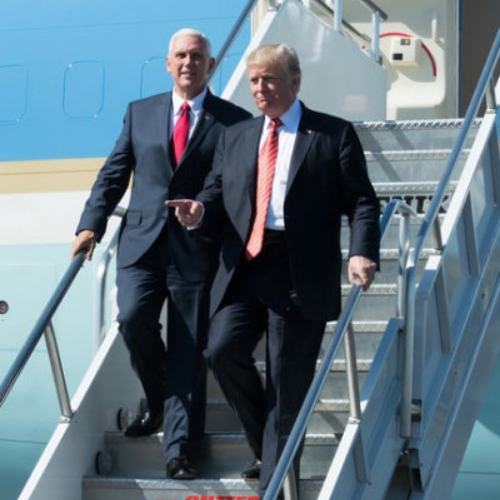 Trump and Pence coming off of Airforce one