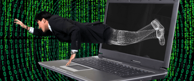 man flying out of a laptop, creating website