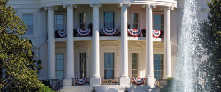 Close up view of the White House in D. C.