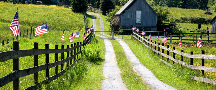 i LOVE A,MERICA- COUNTRY ROAD WITH AMERICAN FLAGS ALONG THE WOODEN FENCE