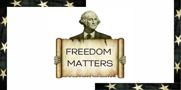 CREATIVE, WASHINGTON HJOLIDING SIGN, FREEDOM MATTERS