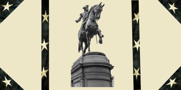 WASHINGTON ON HORSE. STATUE