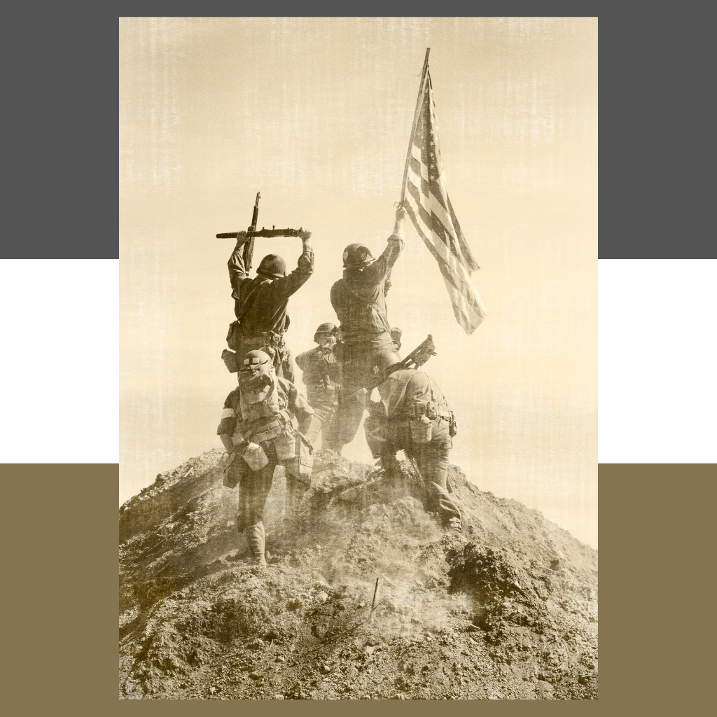 American soldiers taking a hill in WW2