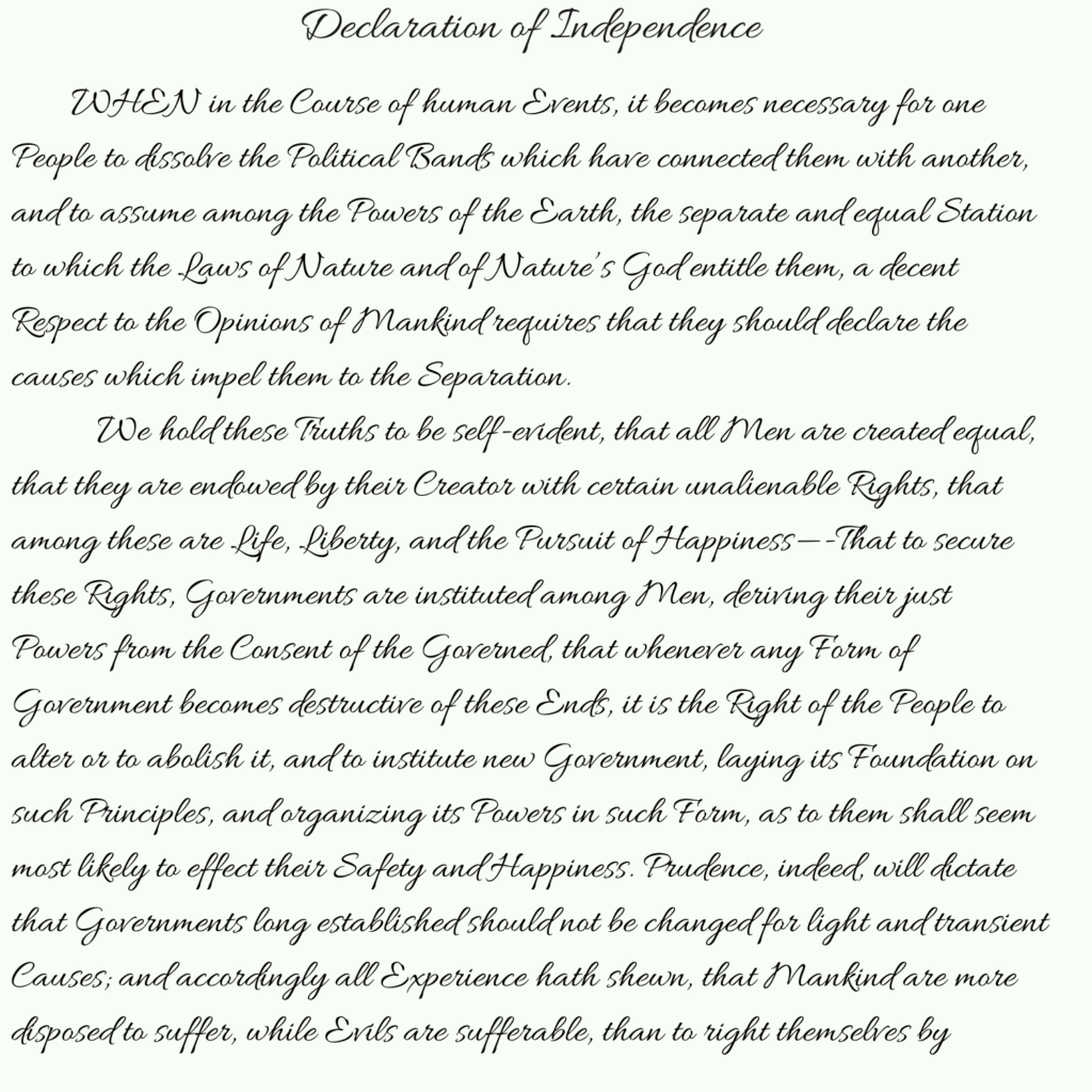 Declaration of Independence pt 1