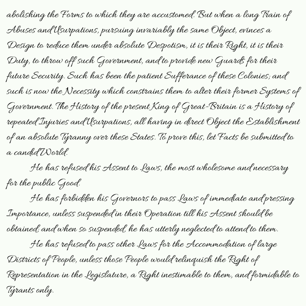 Declaration of Independence part 2