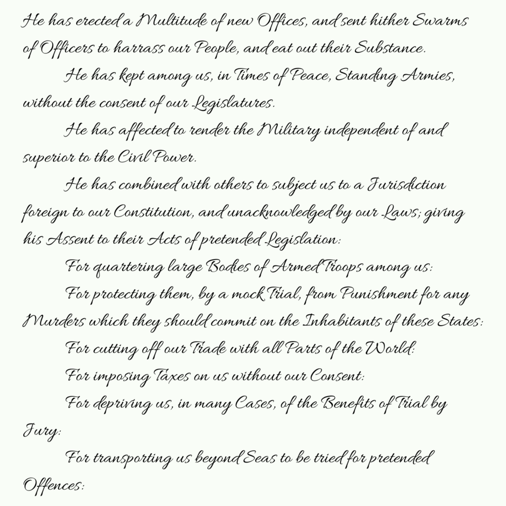 Declaration of Independence part 4