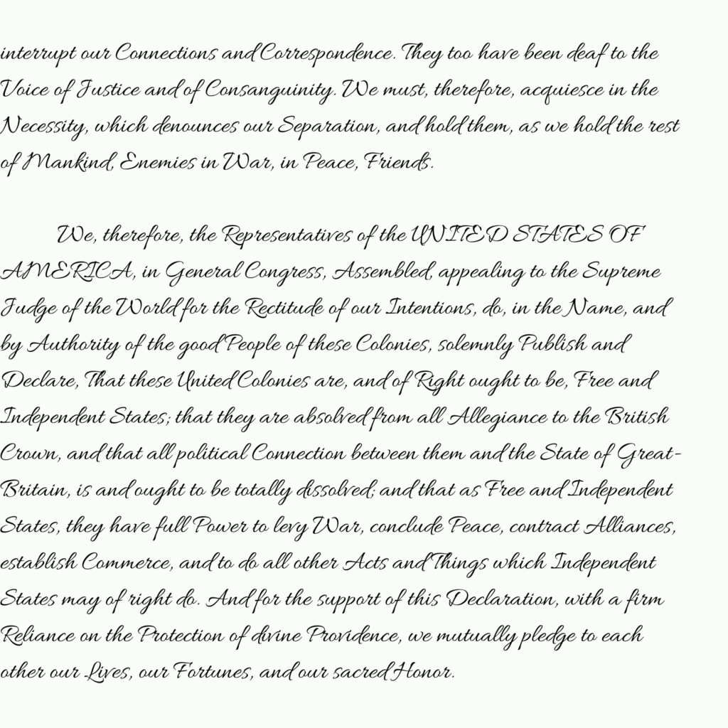 Declaration of Independence part 7