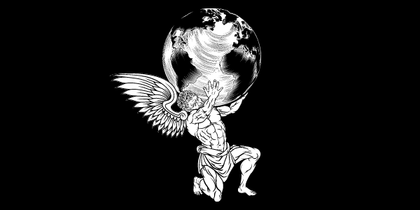 angel holding up earth