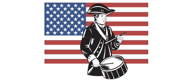 PLEDGE OF ALLEGIANCE PATRIOT DRUMMER , US FLAG IN BACKGROUND