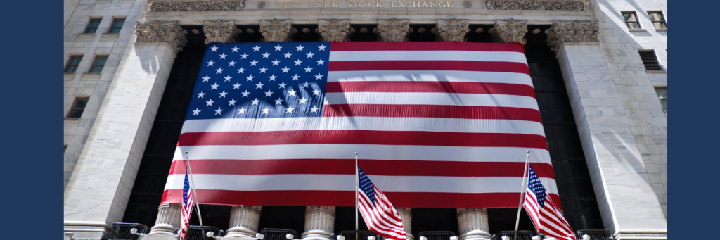 large US flag in front of NY Stock Exchange